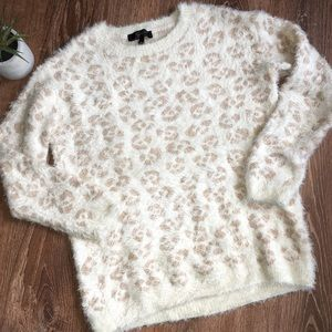 Jessica Simpson Fuzzy Leopard Gold Sweater S